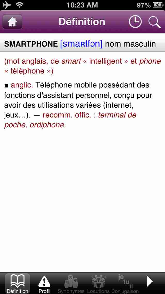 Dictionnaire Le Robert Mobileのスクリーンショット - 5