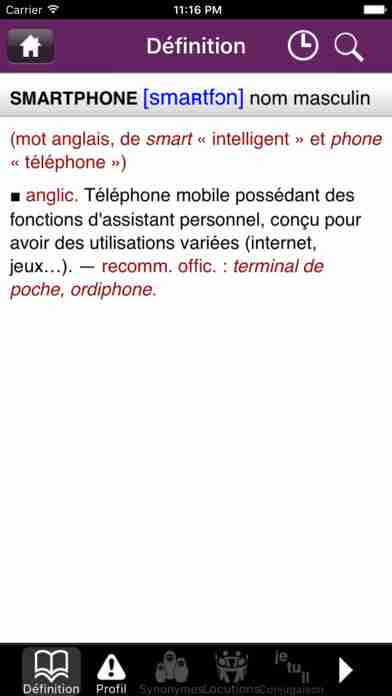 Dictionnaire Le Robert Mobileのスクリーンショット - 8